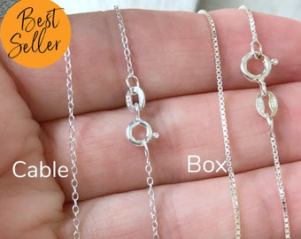 """0.7mm 0.8mm 1.0mm 925 Sterling Silver Box Chain Necklace 16/"""" 18/"""" 20/"""" 22/"""""""