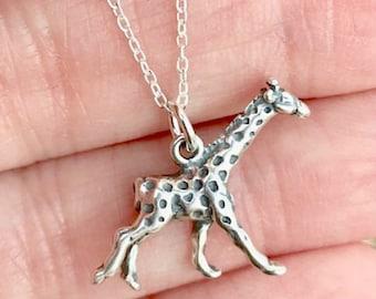 3D Giraffe small Pendant Necklace 925 Sterling Silver giraffe animal charm zoo animal chain necklace