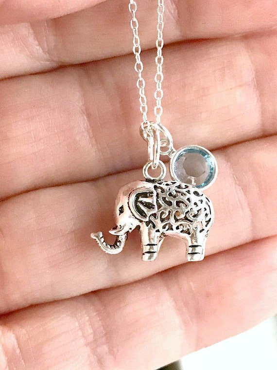 80be43ae1 Personalized Elephant Necklace 925 Sterling Silver Swarovski | Etsy