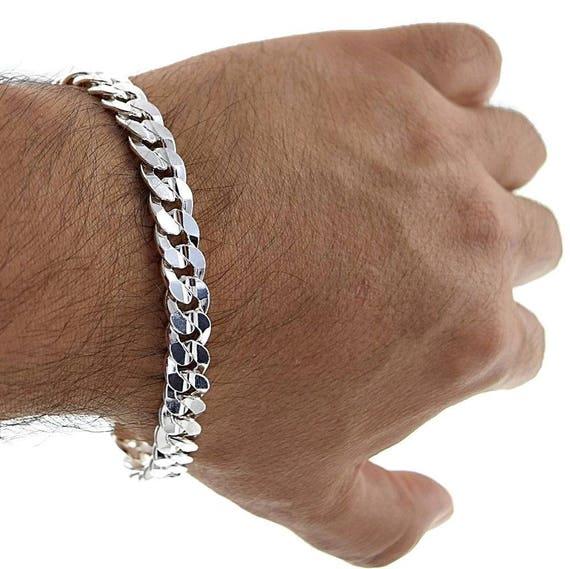 "SOLID Curb 220-9/"" 8mm 16.1 Gram Italian Link .925 Sterling Silver Bracelet 9/"""