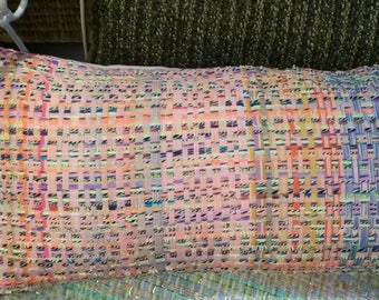 Nice Cushion cover multicolor with 30 X 50 cm long stripes weave effect