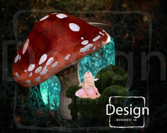 Fairy Digital Background Magical Backdrop Photography Fairy Jar Forest Mossy Chair Toadstool Fairy Backdrop  Magical Digital background
