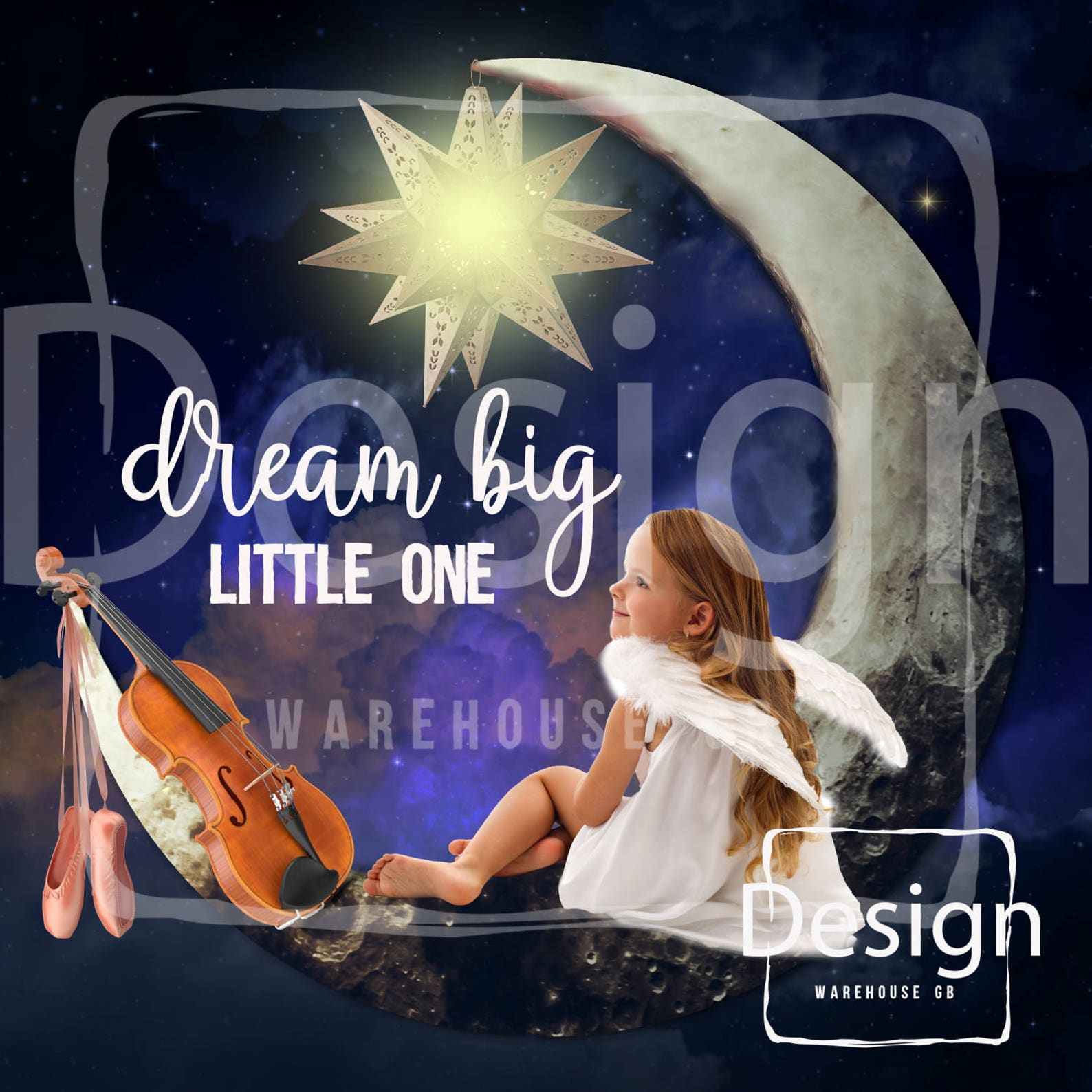 set of 2 crescent girl photography digital props backdrop crescent moon sky violin ballet shoes digital composite téléchargement