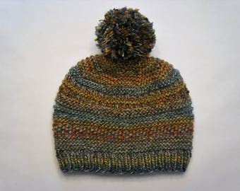 Multi Colored Textured Knit with Pom