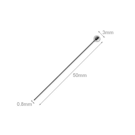 2pcs Sterling Silver Ball Head Pins 3mm 0.8mm Gauge Thick 50mm Length sterling silver head pins earring pins earring components