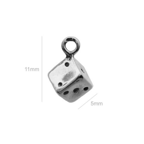 Sterling Silver Charm cube Charm Charms Pendants for Bracelet and Pendant Jewelry Making & Beading Charms