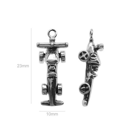 Sterling Silver Charm Formula 1 car Charm Charms Pendants for Bracelet and Pendant Jewelry Making & Beading Charms