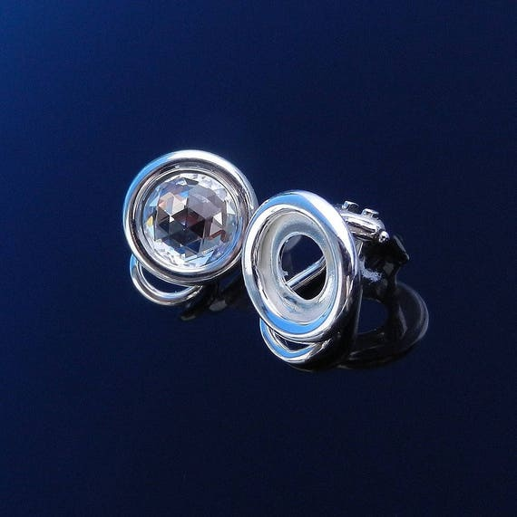 Sterling Silver Ear Clip on Earrings for 8mm Round Cabochons Swarovski Crystals