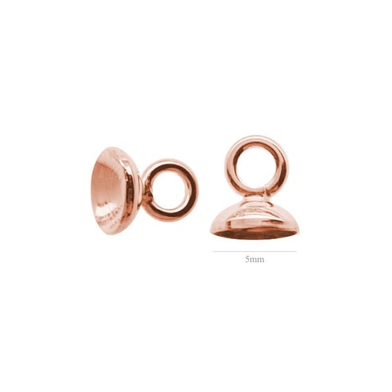 ROSE GOLD 2pcs Sterling Silver Cup Pearls and Beads 5mm silver 925 silver jewelry earrings 925 findings