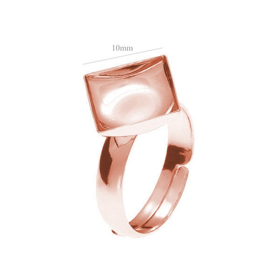 Rose Gold Sterling Silver Adjustable Ring, for Swarovski Crystals 2493 Chessboard 10mm 2420, Swarovski 10mm or other Square beads 10mm