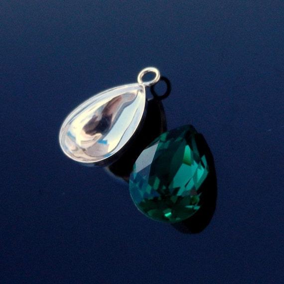 Pear Shape Pendant Pinch Bail 925 Sterling Silver 14mm