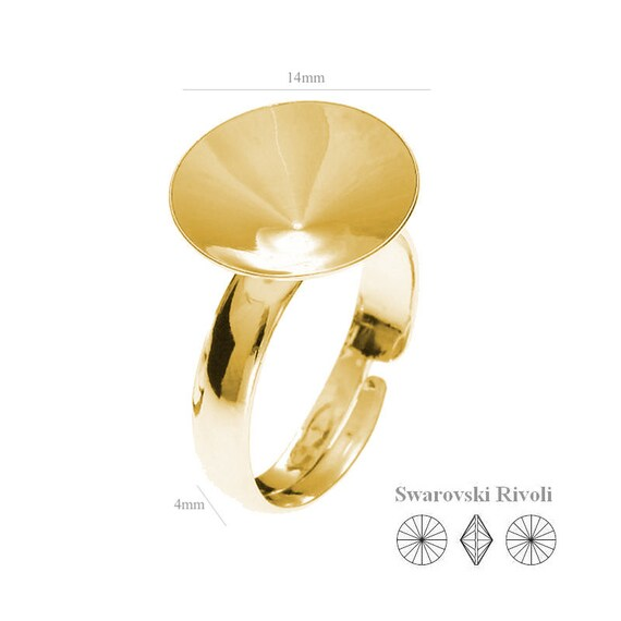 VERMEIL 24k gold over Sterling silver rings for women for stone adjustable ring for Swarovski Crystals Rivoli 14mm