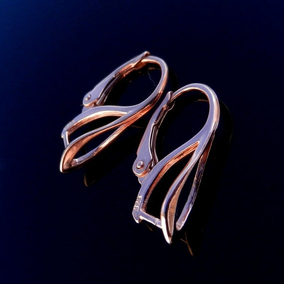 Sterling silver leverback and rose earrings