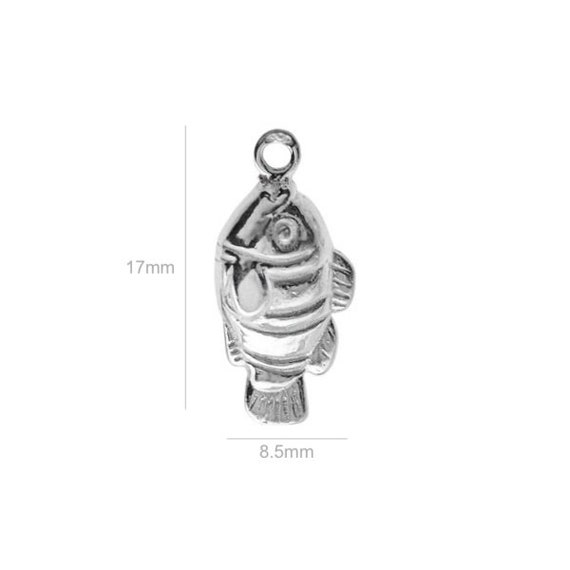 Sterling Silver Charm fish Charms Pendants for Bracelet and Pendant Jewelry Making & Beading Charms