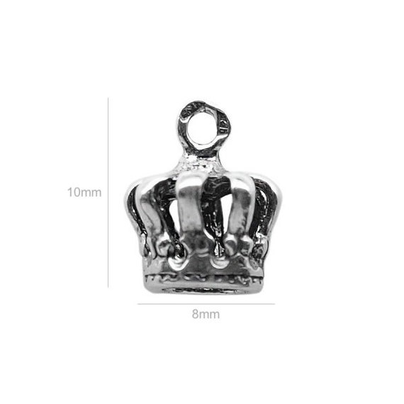 Sterling Silver Charm crown Charm Charms Pendants for Bracelet and Pendant Jewelry Making & Beading Charms