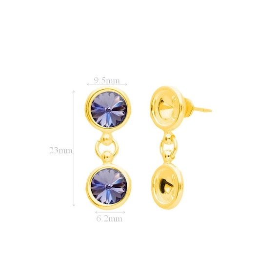 24k VERMEIL Gold over Sterling Silver Ear Posts with Ear nuts earrings for Crystals from Swarovski Rivoli 1122 SS 29 6.2mm