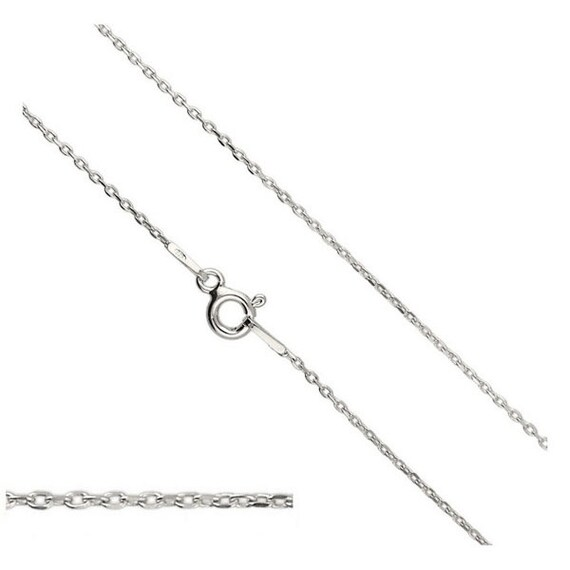 Sterling Silver Chain Cable Chain 20'' 50cm long 1.2mm Silver Findings Chains Clasp Spring Ring Select Length