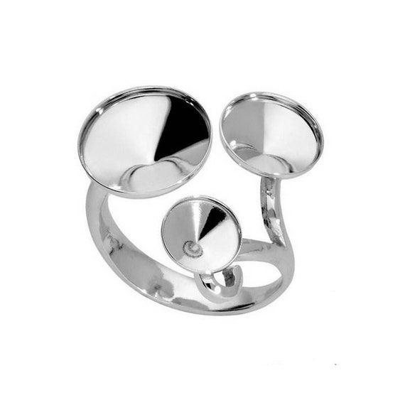 Silver Ring Sterling Silver Adjustable Ring for 1122 SS47 (10.7 mm) Rivoli 1122 SS39 (8.3 mm) Rivoli 1122 SS29 (6.2 mm) Rivoli