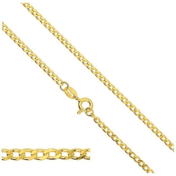 """VERMEIL Gold 24k over Sterling Silver Chain Curb Chain 17.5"""" 45cm 1.4mm Clasp Spring Ring Silver Findings Chains Select Length"""
