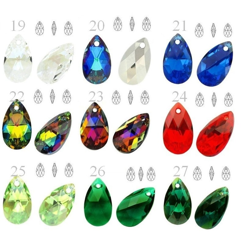 73c62c4c6b77f 6106 Swarovski Crystal Pear-shaped 16mm perfect for ear wires and pendants