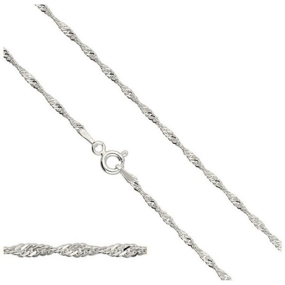 Sterling Silver Chain Singapore Chain 20'' 50cm long Silver Findings Chains Clasp Spring Ring