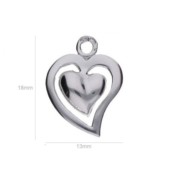 Sterling Silver Charm Tiny Heart Charms Pendants for Bracelet and Pendant Jewelry Making & Beading Charms