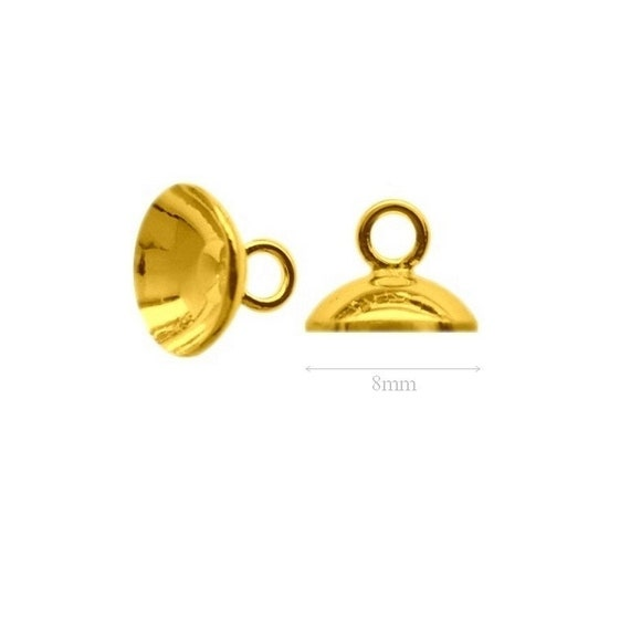 2pcs VERMEIL 24k Gold over Sterling Silver beads Cup for Pearls and Beads 8mm Findings Silver bead caps Jewelry Making Silver 925