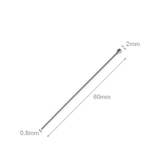 2pcs Sterling Silver Ball Head Pins 2mm 0.8mm Gauge Thick 60mm Length beading jewelry making jewelry