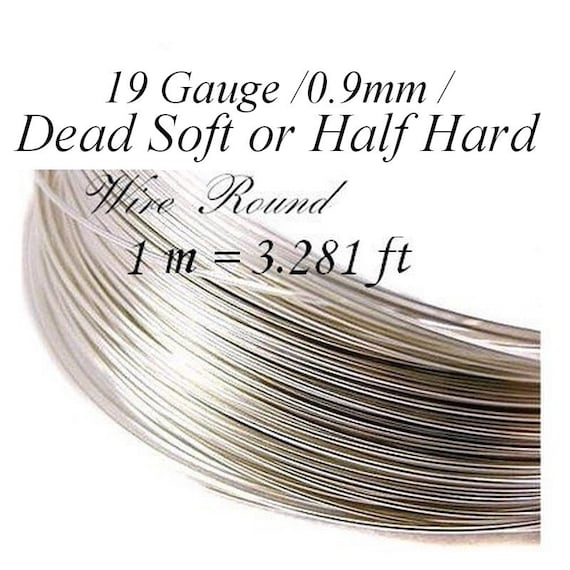 Sterling Silver Wire, Silver Wire, Dead Soft or Half Hard 1 m = 3.281 ft 19 Gauge 0.9mm