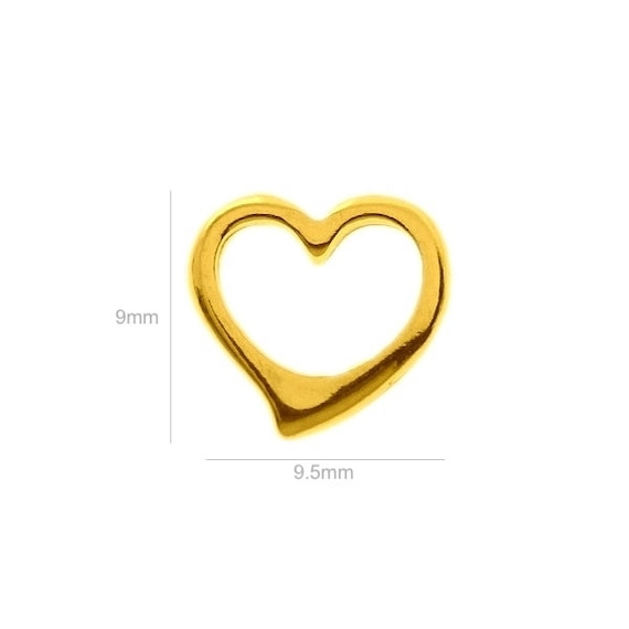 VERMEIL 24k gold over Sterling Silver Charm Tiny Heart Charm Charms Pendants for Bracelet and Pendant Jewelry Making & Beading Charms