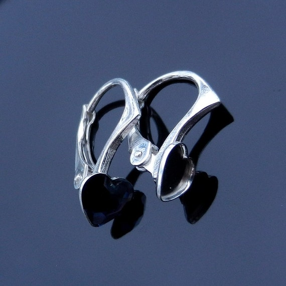 EXCLUSIVE Sterling Silver Lever Back earrings for Swarovski Crystals 2808 Heart Flat 6mm