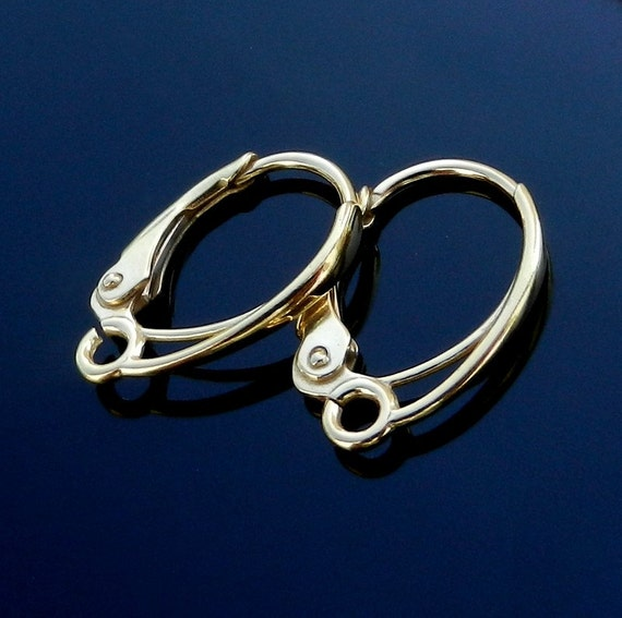 Vermeil 24k Gold over Sterling Silver Lever Back ear earrings Findings