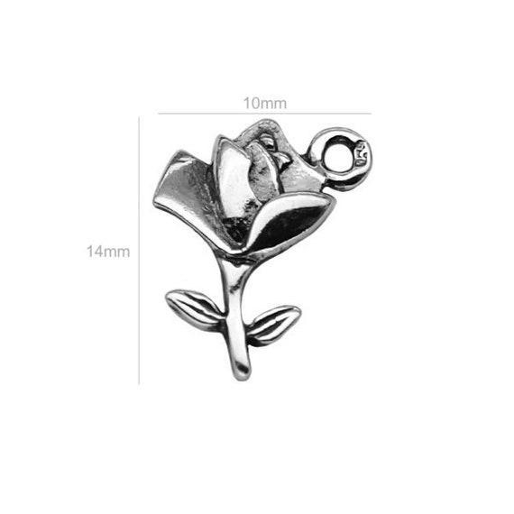 Sterling Silver Charm Charm ROSE Charms for Bracelet Jewelry Making Silver 925 Supplies