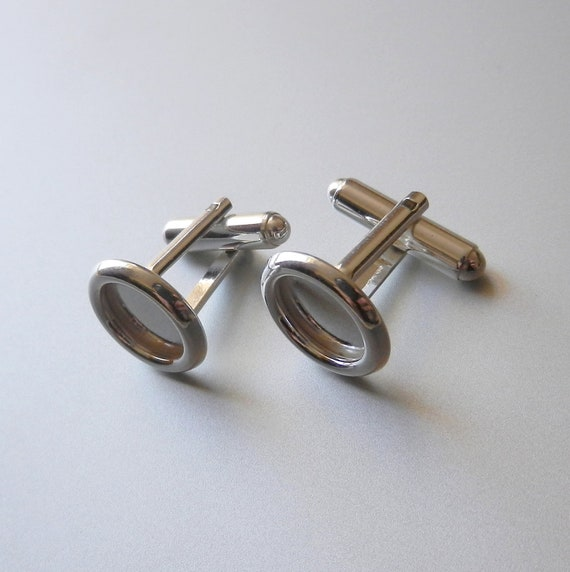 Sterling silver cuff links, cufflinks blanks for men, High Quality silver 925, 12mm Pad FOR Swarovski Crystal or other flat beads