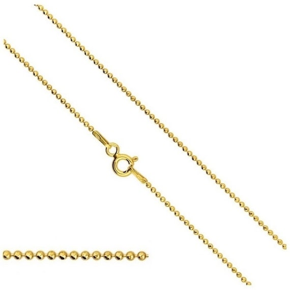 Vermeil 24k Gold over Sterling Silver Chain Ball Chain 15.75'' (40cm) Silver Findings Chains