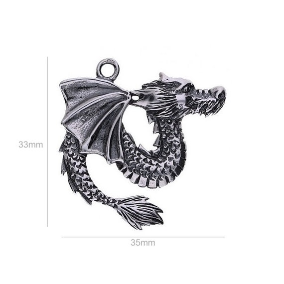 Sterling Silver Charm Dragon, Large for Bracelet Pendants Jewelry Making & Beading  Charms