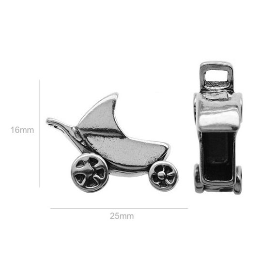Sterling Silver Charm baby-carriage Charm Charms for Earrings Pendants and Bracelets