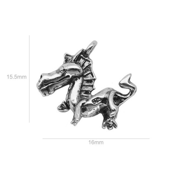 Large Sterling Silver Charm Dragon Tower Charm Charms for Earrings Bracelet Pendants Jewelry Making & Beading  Charms