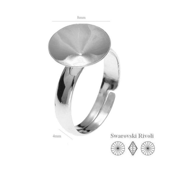 Silver Ring Sterling Silver Adjustable Ring for Swarovski Crystals 1122 Rivoli 8mm SS 39