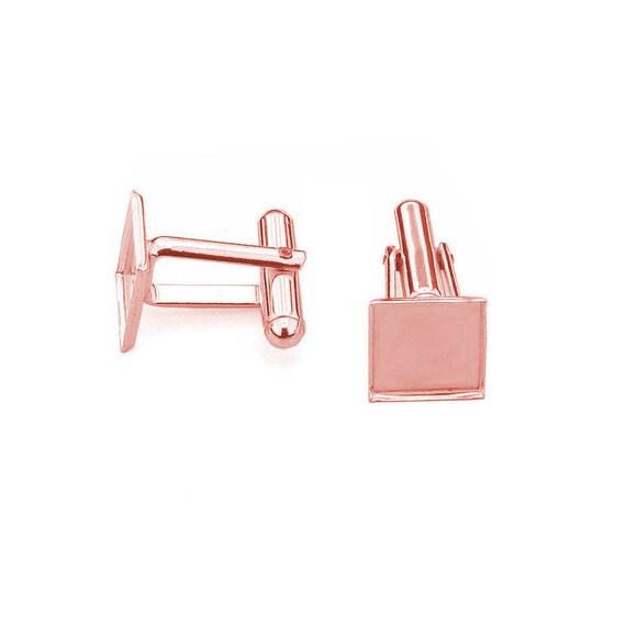 High Quality Rose Gold Cufflink Blank, Cufflink Base, Men Jewelry 10mm Pad Swarovski Crystal