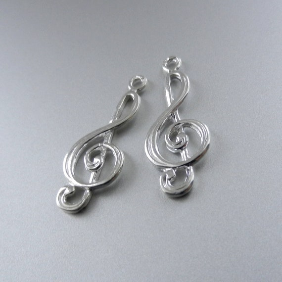 Sterling Silver Charm treble clef Charm Charms Pendants for Bracelet and Pendant Jewelry Making & Beading Charms