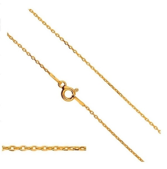 VERMEIL 24k Gold over Sterling Silver Chain Cable Chain 20'' 50cm long 1.2mm Silver Findings Chains Clasp Spring Ring Select Length
