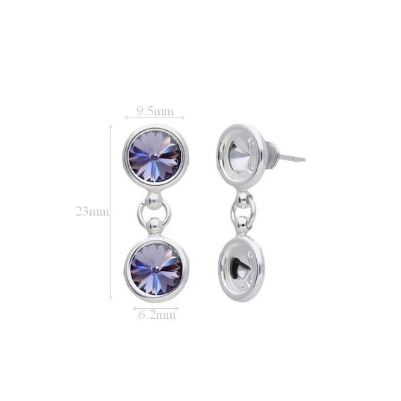 Sterling Silver Ear Posts with Ear nuts earrings for Crystals from Swarovski Rivoli 1122 SS 29 6.2mm