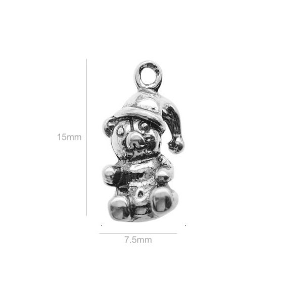 Sterling Silver Charm bear Charm Charms for Earrings Pendants and Bracelets
