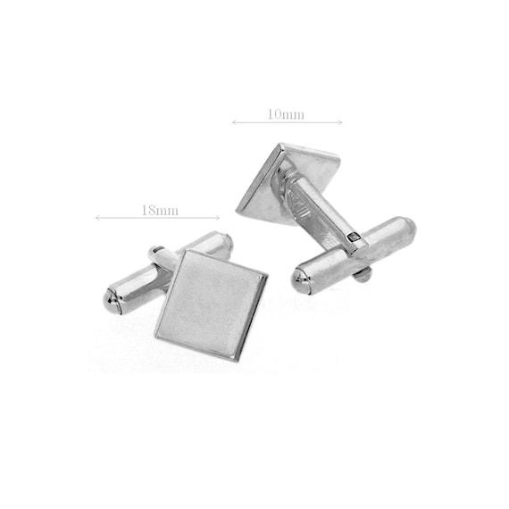 High Quality Sterling Silver Cufflink Blank Cufflink Base Custom Cufflink Bezel Cufflink Men Jewelry 10mm Pad Swarovski Crystal