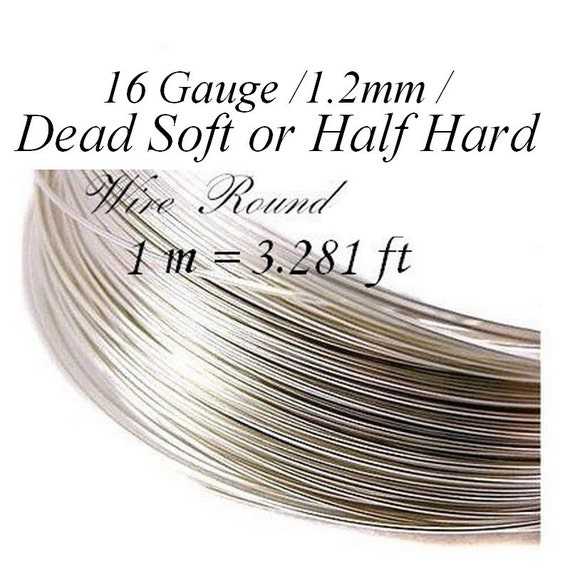 Sterling Silver Wire dead soft or half hard 1 m = 3.281 ft 16 Gauge 1.2mm