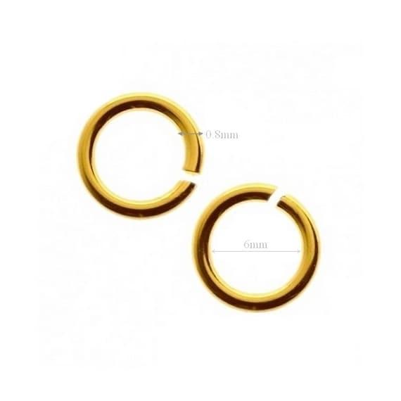 10pcs VERMEIL, 24k, gold over Sterling Silver Jump Rings Open Jumpring 6mm Inside Wire 0.8mm 20 Gauge