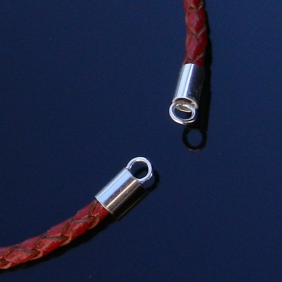 2pcs Sterling Silver 4mm Cord Ends Leather end caps 4mm bracelet cord findings silver thong crimps