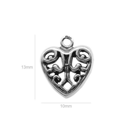 Sterling Silver Charm Heart Charms Pendants for Bracelet and Pendant Jewelry Making & Beading Charms