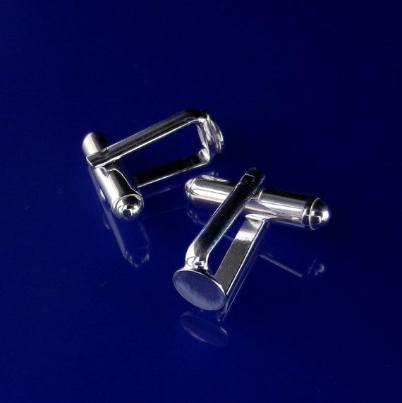 High Quality Sterling Silver Cufflink Blank Cufflink Base Custom Cufflink Bezel Cufflink Men Jewelry 6mm Pad Swarovski Crystal